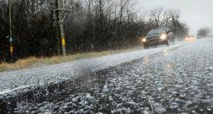 The Road Safety Authority  says hail showers are 'unpredictable' and can turn a safe stretch of road into a 'carpet of hailstones' very quickly. Photograph: iStock