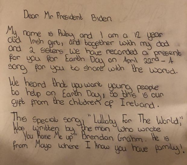 Ruby Maher's personal letter to US president Joe Biden in response to his call for young people to get involved Earth Day