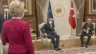 EU's von der Leyen is left seatless at Erdogan meeting