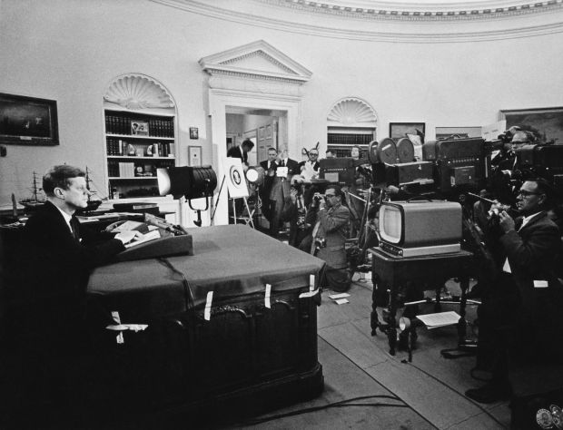 Cuban missile crisis: President Kennedy addresses the media in the Oval Office in October 1962. Photograph: Keystone/Getty