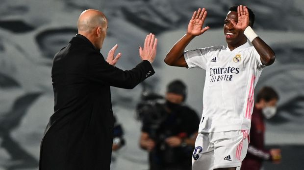 Zinedine Zidane and Vinicius Junior celebrate during Real Madrid's 3-1 win over Liverpool. Photograph: Gabriel Bouys/Getty/AFP