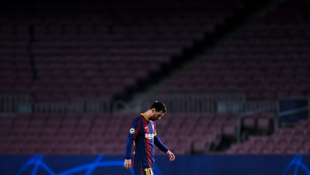Lionel Messi and Barcelona have fallen to some heavy recent defeats in Europe, including against PSG in the Champions League last-16. Photograph: David Ramos/Getty