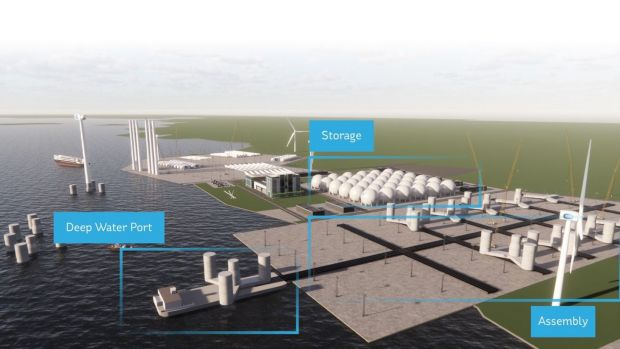A computer-generated representation of the transformed Moneypoint site in the Shannon estuary including hydrogen storage facilities and a centre for the construction and assembly of floating wind turbines.
