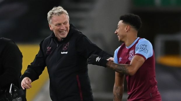 West Ham manager David Moyes with Jesse Lingard. Photo: Laurence Griffiths/EPA