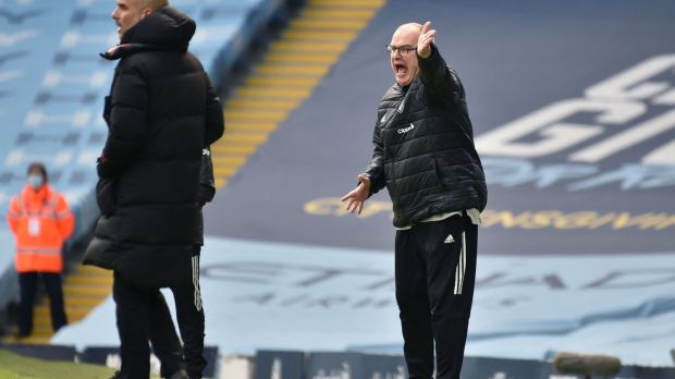 Marcelo Bielsa's 10-man Leeds beat Manchester City at the Etihad. Photograph: Rui Vieira/getty/AFP