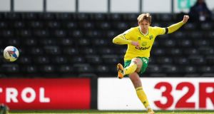 Kieran Dowell scores  Norwich City's goal  during the Sky Bet Championship match against  Derby County  at Pride Park. Photograph: Alex Pantling/Getty Images
