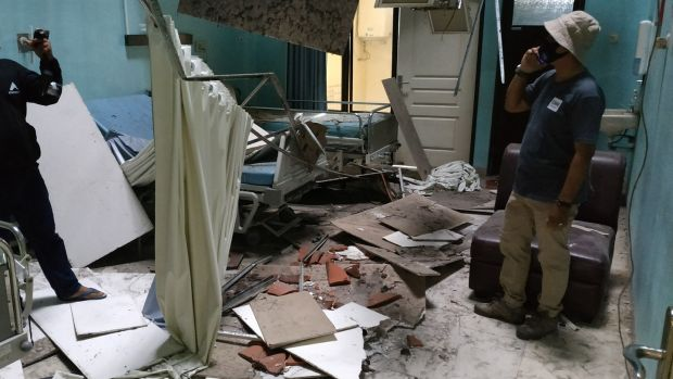 Damage to a hospital ward iin Blitar, East Java after the earthquake struck. Photograph: Avian/AFP/Getty Images