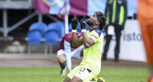 Allan Saint-Maximin after scoring for Newcastle United against Burnley. Photograph: EPA
