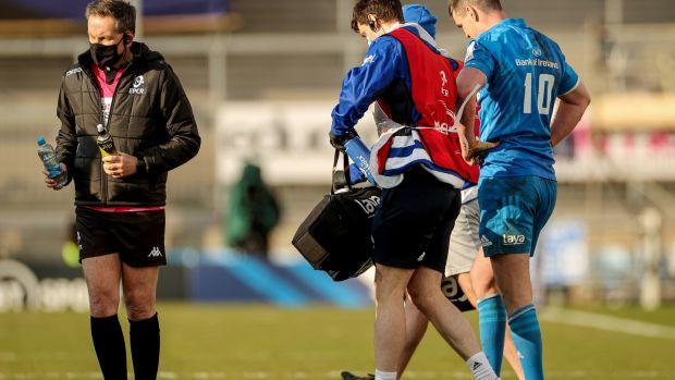 Johnny Sexton suffered another head injury during Leinster's win over Exeter. Photograph: James Crombie/Inpho
