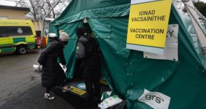 A vaccination centre at St Mary's Hospital in the Phoenix Park, in Dublin. File photograph: Dara Mac Dónaill