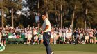 Hideki Matsuyama ackowledges the crowd after winning the 2021 Masters at Augusta National. Photo: Justin Lane/EPA