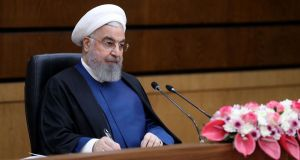 Iranian president Hassan Rouhani delivers a speech on Iran's National Nuclear Technology Day, as Tehran launched new advanced uranium enrichment centrifuges at the Natanz nuclear site. Photograph: Iranian Presidency/AFP via Getty