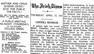 Contra mundum: The Irish Times's editorial of April 12th, 1951, on Noel Browne and the Mother and Child scheme
