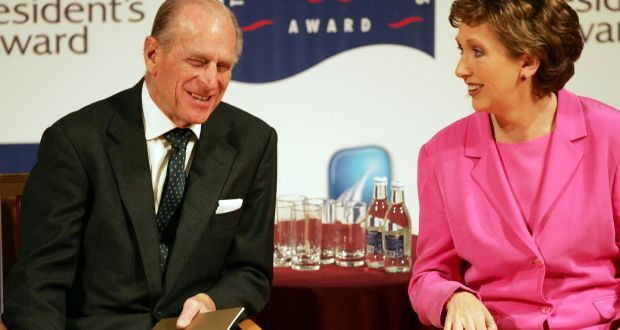 Prince Philip in 2006 with the then president, Mary McAleese, for the presentation of the Gaisce Awards at the National Concert Hall in Dublin. Photograph: Eric Luke