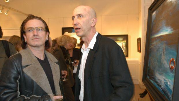 With Bono at the Solomon Gallery. Photograph: Moya Nolan
