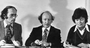 Pat Carroll, (husband of Joan Burton), Michael D Higgins and Mary Robinson at the Labour Action on Housing conference in the Mansion House in February 1980. Photograph: Dermot O'Shea