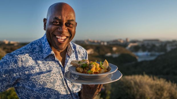 Ainsley Harriott in Ainsley's Mediterranean Cookbook
