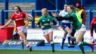 Ireland's Lauren Delany in action during last weekend's Women's Six Nations game against Wales at  Cardiff Arms Park. Photograph: Robbie Stephenson/Inpho