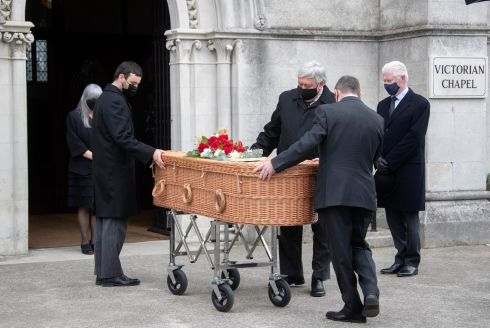 FUNERAL: The remains of Shay Healy are brought into the Victorian Chapel, Mount Jerome, Dublin before the funeral of the former broadcaster. Photograph: Colin Keegan/Collins Dublin