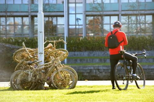 FISHED OUT: Old bikes which were taken from the Royal Canal, at Guild Street, Dublin. Photograph: Dara Mac Dónaill/The Irish Times