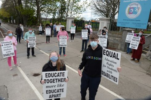 PROTEST: Orla Fallon, Beaumont and James Nolan, Drumcondra, students at Clonturk Community College joined their parents and other supporters outside the school at lunchtime to protest over not being allowed sit the Leaving Cert Applied. Photograph: Dara Mac Dónaill/The Irish Times