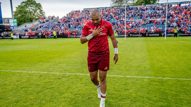Simon Zebo walks off the pitch after the final game of his first stint at Munster in the Guinness Pro 14 semi-final against Leinster at the RDS in May 2018. Photograph: Morgan Treacy/Inpho
