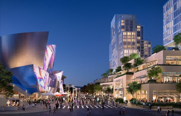 A rendering of the Grand in Downtown Los Angeles, with Frank Gehry's new residential tower and hotel, right, including a retail plaza and restaurant. Photograph: Red Leaf, via Related/CORE and Gehry Partners, LLP