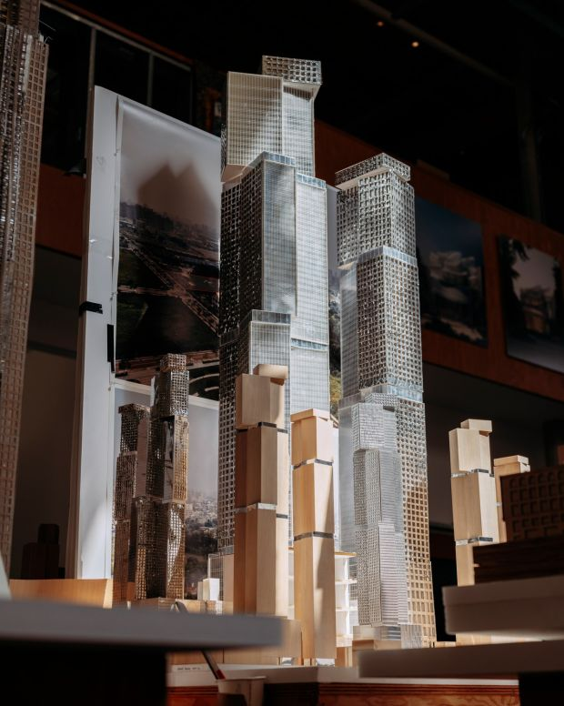 A model of the King Street project in Toronto in Frank Gehry's architecture studio. Photograph: Erik Carter/The New York Times)