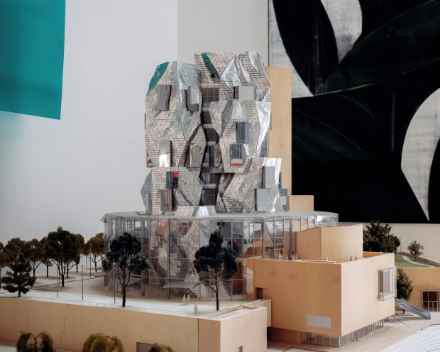 A model of the Luma Arles cultural center, opening this summer in Arles, France, at Frank Gehry's architecture studio in Los Angeles. Photograph: Erik Carter/New York Times