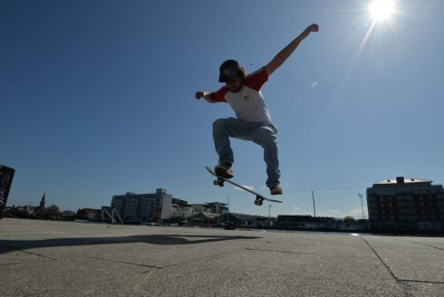 WHEEL DEAL: Gustavo Lambert gets a bit of air while skateboarding at Grand Canal Dock in Dublin. Photograph: Alan Betson/The Irish Times
