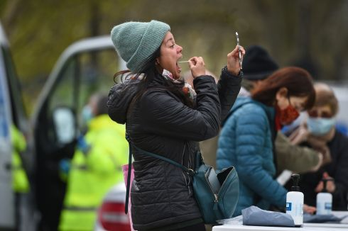 COVID-19: People take part in coronavirus surge testing on Clapham Common, south London, Britain. Photograph: Kirsty O'Connor/PA Wire