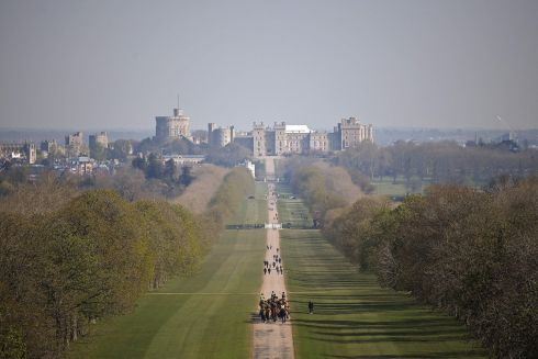 PRINCE'S FUNERAL: A regiment of the British army exercise their horses along The Long Walk, leading to Windsor Castle, ahead of Prince Philip's funeral. Photograph: Ben Stansall/AFP via Getty Images