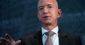 "Jeff Bezos: ""We are going to be Earth's Best Employer and Earth's Safest Place to Work."" Photograph: AFP via Getty"