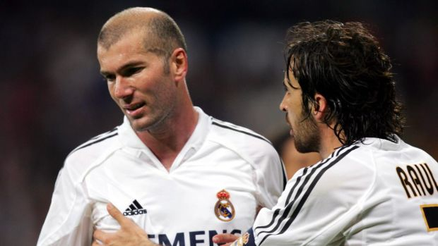 Real madrid captain Raul Gonzalez consoles Zinedine Zidane after he was shown the red card during a La Liga soccer match against Villarreal at the Bernabeu in April 2005. Photograph: Denis Doyle/Getty Images