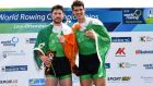 Ireland's Philip Doyle and Ronan Byrne celebrate securing their Tokyo qualification at the  World Rowing Championships in Ottensheim, Austria, in September 2019.  Photograph: Detlev Seyb/Inpho