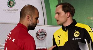 Pep Guardiola greets Tomas Tuchel before the German cup final between Bayern Munich and Borussia Dortmund in 2016. . Of the 13 managers hired by Abramovich, Tuchel is by far the closest in style to Guardiola. Photograph: Tobias Schwarz/AFP/Getty