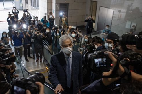 HONG KONG: Former lawmaker Martin Lee Chu-Ming (centre) arrives at the West Kowloon court building in Hong Kong, China, April 16th. He is among nine democracy activists currently on trial and expected to be sentenced on April 16th for unauthorised assembly during a protest in 2019. Photograph: Jerome Favre/EPA