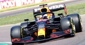 Red Bull driver Max Verstappen   in action during the second practice session of the Formula One Grand Prix Emilia Romagna at Imola race track, Italy, on Friday. Photograph:  Davide Gennari/EPA