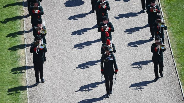 The rifles band march into position at Windsor Castle in Windsor. Photograph: Kirsty O'Connor/AFP