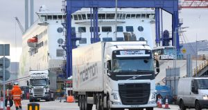 Freight trucks at Dublin Port in January. Trade volumes declined by 15 per cent in the first quarter, due in part to the impact of Brexit.  Photograph: Sasko Lazarov/RollingNews.ie