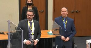 Defence attorney Eric Nelson and  former Minneapolis police officer Derek Chauvin at the Hennepin County Courthouse in Minneapolis, Minnesota, where Chauvin is on trial over the death of  George Floyd in May 2020.  Screen grab: Court TV/Pool via AP