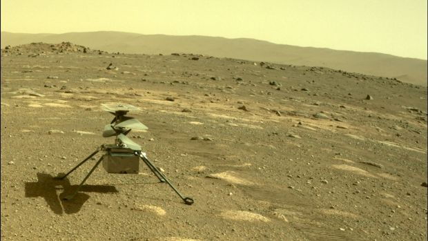 The Ingenuity helicopter seen on Mars as viewed by the Perseverance rover rear Hazard Camera on April 4th, 2021. Photograph: Nasa/JPL-Caltech/AFP via Getty Images