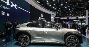 """Beyond Zero"" bZ4X electric sport utility vehicle (SUV) at the Auto Shanghai 2021 show in Shanghai, China, on Monday, April 19, 2021.  Photograph: Qilai Shen/Bloomberg"