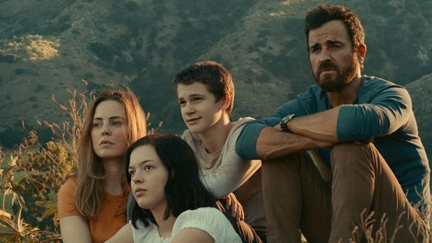 Melissa George, Gabriel Bateman, Logan Polish and Justin Theroux in The Mosquito Coast
