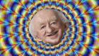 Michael D Higgins –  Dance Remix, a remix of an RTÉ interview with the president (caricature by DonkeyHotey)