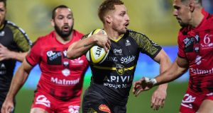Ihaia West:   suffered a shoulder injury while scoring a try  during La Rochelle's   French Top 14 win over  Lyon at the Marcel Deflandre Stadium in La Rochelle. Photograph: Xavier Leoty/AFP/Getty Images