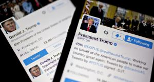 The Twitter accounts of former US president Donald Trump. Photograph: Andrew Harrer/Bloomberg