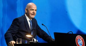 Fifa president Gianni Infantino speaks during the 45th Uefa Congress in Montreux, Switzerland, on Tuesday, where he said he 'strongly disapproves' of the proposed Super League. Photograph: Richard Juilliart/Uefa via AP
