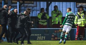 Graham Burke celebrates Shamrock Rovers' later winner against Drogheda. Photograph: Brian Reilly-Troy/Inpho