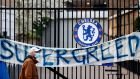 A banner outside Stamford Bridge on Tuesday ahead of Chelsea's draw with Brighton. Photograph: Adrian Dennis/Getty/AFP